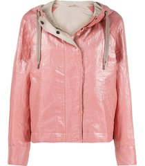 brunello cucinelli loose-fit hooded jacket - pink