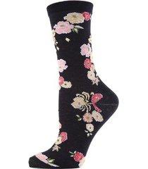 natori saipan fashion crew socks, women's, black, cotton natori