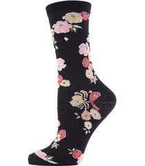 natori saipan fashion crew socks, women's, black, cotton natori