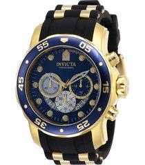 reloj invicta 28723 oro negro silicona, poliuretano