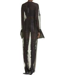 women's rick owens collage long sleeve chiffon & tulle dress, size 2 us - black