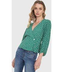 blusa verde-blanco mng