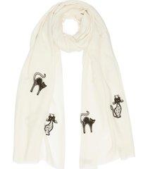 sequin embellished bodega cat merino wool scarf