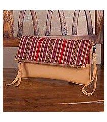 sheepskin leather shoulder bag, 'andean walk' (peru)