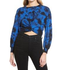 women's alice + olivia marcelle twist front pullover, size medium - blue