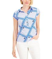 charter club printed polo shirt, created for macy's