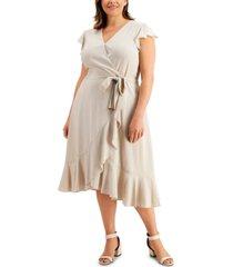 calvin klein plus size textured printed ruffled-sleeve faux-wrap dress