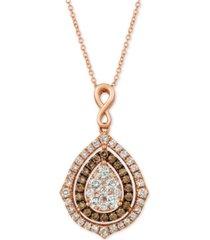 """le vian nude diamonds & chocolate diamonds fancy 18"""" pendant necklace (1-5/8 ct. t.w.) in 14k rose gold"""