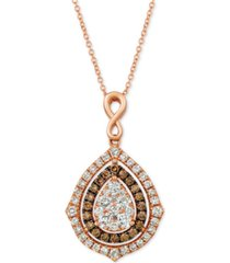 "le vian nude diamonds & chocolate diamonds fancy 18"" pendant necklace (1-5/8 ct. t.w.) in 14k rose, yellow or white gold"