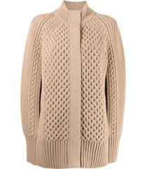 alexander mcqueen knitted wool-cashmere cape - brown