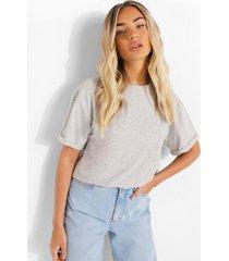 oversized kort t-shirt met omgeslagen mouwen, grey marl