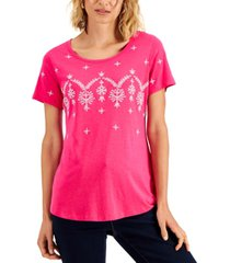 karen scott embroidered top, created for macy's