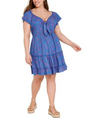 band of gypsies trendy plus size printed tie-front tiered dress