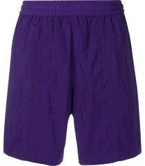 ami paris elastic waist long swim shorts - purple
