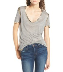 women's zadig & voltaire tino foil tee, size large - grey