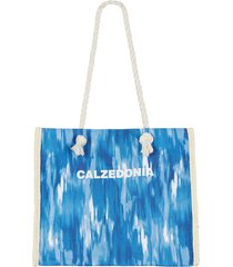 calzedonia multicolored striped beach bag woman blue size tu