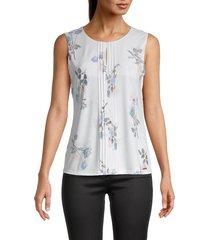 calvin klein women's pintuck floral sleeveless top - white rose - size xs