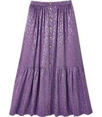 jacquardmönstrad, lång kjol med knäppning