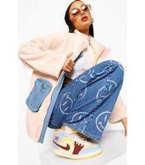 oversized nepwollen utility jas met denim zakken, ecru