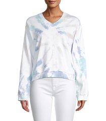 hard tail women's tie-dyed cotton sweatshirt - white blue