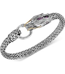 effy certified ruby dragon statement bracelet (1/6 ct. t.w.) in sterling silver & 14k gold-plate
