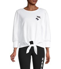 karl lagerfeld paris women's tie-front long-sleeve top - black - size xs