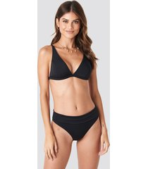 trendyol long triangle bikini bottom - black
