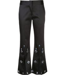 alexis floral beaded trousers - black