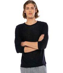 blue linen man t-shirt long sleeves