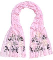 fraas gingham floral oblong scarf