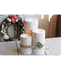 zestaw 3 rustykalnych drewnianych świeczników