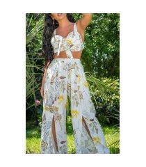 sexy zomer set- broek met split en bustier top wit