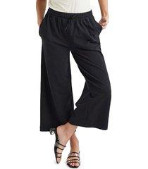 richer poorer women's terry wide-leg cropped pants - black - size xs