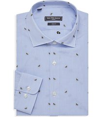 modern trim-fit bumblebee-print striped dress shirt
