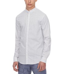 long sleeve all-over micro logo button shirt