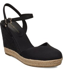 basic closed toe high wedge sandalette med klack espadrilles svart tommy hilfiger