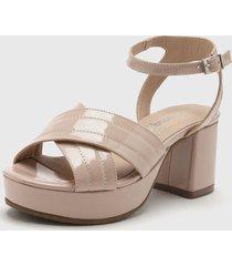 sandalia de cuero rosa gravagna