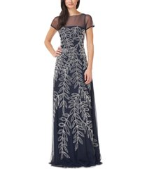 js collections illusion-trim embellished gown