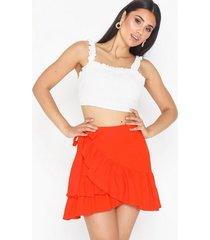 topshop linen rich wrap mini skirt minikjolar