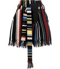 ambush vertical-stripe fringed shorts - black