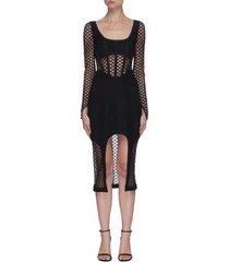 crochet lace panel front slit dress