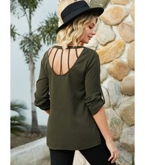 yoins army green backless diseño blusa de manga larga redonda cuello