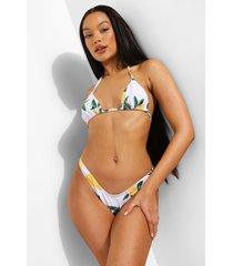 driehoekige citroenen bikini top met strik, white