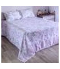 jogo de cama duplo queen percal 180 fios 100% algodão sidney - rosa