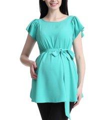 kimi + kai quinn flutter sleeve maternity blouse