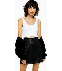 fiji black crocodile faux leather pu split mini skirt - black