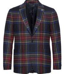 d2. slim flannel tartan blazer blazer kavaj grön gant