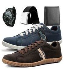 kit 2 pares de sapatênis casual dhl polo masculino cinza e marrom + relógio + cinto + carteira