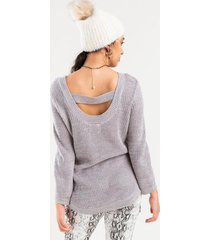 katie bar back knit sweater - heather gray