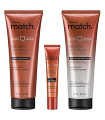 combo match força: shampoo, 250 ml + condicionador, 250 ml + máscara monodose, 15 ml